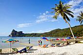 Tourists at beach Ao Lo Dalam, Lohdalum Bay, Ko Phi Phi Don, Ko Phi Phi Island, Krabi, Thailand, after the tsunami