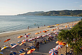 View over Patong Beach with a lot of parasols and sunloungers, Ao Patong, Hat Patong, Phuket, Thailand, after the tsunami