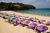 View over Katong Beach with a lot of parasols and sunloungers, Ao Katong, Hat Katong, Phuket, Thailand, after the tsunami