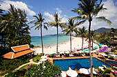 View over Karon Beach Resort to sandy beach, Ao Katong, Hat Katong, Phuket, Thailand, after the tsunami