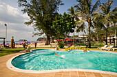 People bathing in a swimming pool, Kata Beach, Hat Kata Yai, Ao Kata Yai, Phuket, Thailand, after the tsunami