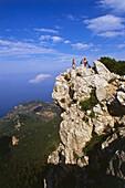 A group of people hiking, Reitweg des Erzherzogs, near Valldemosa, Serra de Tramuntana, Mallorca, Spain