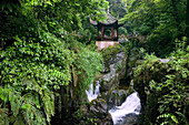 Qing Yin Ge Temple, waterfall and rocks, bridge, Mountains, along the pilgrim path on Emei Shan, China, Asia, World Heritage Site, UNESCO