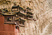 Hanging monastery on a rock face, Heng Shan North, Shanxi province, China, Asia