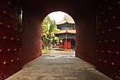 main gate to Grand Temple, red monastery wall, Taoist Heng Shan south, Hunan province, Hengshan, Mount Heng, China, Asia