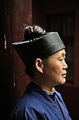 Profile of a chinese nun, Nunnery Huanting, Heng Shan South, Hunan province, China, Asia