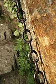 pilgrim path along stone steps with worn down chain handrail, Hua Shan, Shaanxi province, Taoist mountain, China, Asia