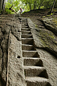 pilgrim path along stone steps with rope handrail, Hua Shan, Shaanxi province, Taoist mountain, China, Asia