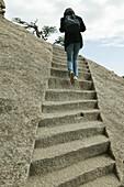 pilgrim path along steep and cut stone steps, Hua Shan, Shaanxi province, Taoist mountain, China, Asia