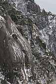 stone steps, climb to Jade Screen Peak, snow on slopes of the Huang Shan, Anhui province, World Heritage, UNESCO, China, Asia