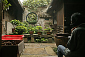 Picturesque courtyard of a traditional residential house, Hongcun, Ming, China, Asia