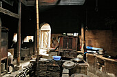 Interior view of a traditional kitchen at a wooden house, Chengkun, Hongcun, China, Asia