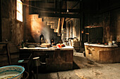 Interior view of a traditional kitchen in an old timber farmhouse, Chengkan near Huangshan, Anui, China, Asia