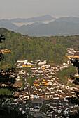 View of Jiuhua Shan Village, Jiuhuashan, Mount Jiuhua, mountain of nine flowers, Jiuhua Shan, Anhui province, China, Asia