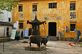 View at the yellow facade of Changcheng nunnery, Jiuhuashan, Anhui province, China, Asia