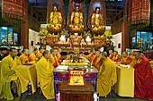 prayer service in Qiyuan Monastery with high ranking monks, Jiuhua Shan Village, Zhiyuan Monastery, Jiuhuashan, Mount Jiuhua, mountain of nine flowers, Anhui province, China, Asia