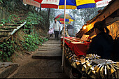 Sales stand with padlocks at the wayside of the pilgrimage route, Jiuhua Shan, Anhui province, China, Asia