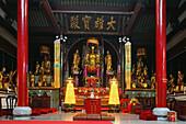 golden Buddhas, Wangfo monastery, Jiuhuashan, Mount Jiuhua, mountain of nine flowers, Jiuhua Shan, Anhui province, China, Asia
