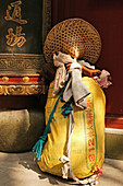 travelling bag of a pilgrim, straw hat and load, Buddhist Island of Putuo Shan near Shanghai, Zhejiang Province, East China Sea, China, Asia