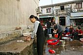 public community outdoor laundry, Buddhist Island of Putuo Shan near Shanghai, Zhejiang Province, East China Sea, China, Asia