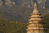 Songyue Temple Pagoda near Shaolin Monastery, is the oldest pagoda in China, rare with twelve sides, Taoist Buddhist mountain, Song Shan, Henan province, China, Asia