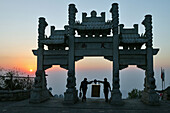 Southern Gateway to heaven at sunset on the summit of Mount Tai, Tai Shan, Shandong province, World Heritage, UNESCO, China