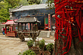 money and red ribbons are donated for long life, health and wealth, Temple, Tai Shan, Shandong province, Taishan, Mount Tai, World Heritage, UNESCO, China, Asia