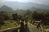 stone steps, stairway and pavilion to the Peak, Golden Hall, Jindian Gong, peak 1613 metres high, Wudang Shan, Taoist mountain, Hubei province, Wudangshan, Mount Wudang, UNESCO world cultural heritage site, birthplace of Tai chi, China,  Asia