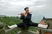 flute playing monk, music teacher, Wudang Shan, Taoist mountain, Hubei province, Wudangshan, Mount Wudang, UNESCO world cultural heritage site, birthplace of Tai chi, China, Asia