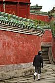 monk, Purple Heaven Hall, Zi Xiao Gong, Wudang Shan, Taoist mountain, Hubei province, Wudangshan, Mount Wudang, UNESCO world cultural heritage site, birthplace of Tai chi, China, Asia
