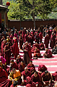 prayer ceremony, buddhist monks, court yard, during birthday of Wenshu, Xiantong Monastery, Wutai Shan, Five Terrace Mountain, Buddhist Centre, town of Taihuai, Shanxi province, China, Asia
