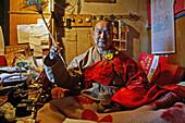 Abbot with peacock feather, Shi Neng Xiu of Santa Monastery, Wutai Shan, Buddhist holy Mountain, Shanxi province, China, Asia