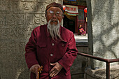 old bearded monk, Taihuai, Wutai Shan, Five Terrace Mountain, Buddhist Centre, town of Taihuai, Shanxi province, China, Asia