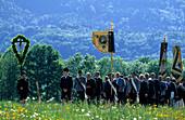 Procession in traditional dress, pilgrimage to Raiten, Schleching, Chiemgau, Upper Bavaria, Bavaria, Germany