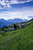 Viano Village with Bernina mountain range in the background, Puschlav, Grisons, Switzerland