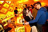 Friends having a drink in the Radost Bar, Nove Mesto, New Town district, Prague, Czech Republic