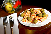Close up of a pasta dish, Aromi Restaurant, New Town, Nove Mesto, Prague, Czech Republic