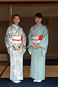 Two Japanese Women, tea ceremony in Hosomi museum, Kyoto, Japan