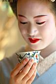 Close-up of a Geisha in Training, Maiko Masayo, Kyoto, Japan