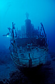 Unknown ship wreck and scuba diver, Papua New Guinea, Bismark Sea