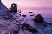 Old water level, sea shore at dusk, Cape of Arkona, Rugen Island, Mecklenburg Western Pommerania, Germany