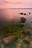 Coastline at dusk, Old Reddevitz, Rugen Island, Mecklenburg Western Pommerania, Germany