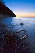 Driftwood lying on the beach at dusk, The sea shore at dusk, Jasmund national park, Rugen Island, Mecklenburg Western Pommerania, Germany