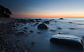 The sea shore at dusk, Jasmund national park, Rugen Island, Mecklenburg Western Pommerania, Germany