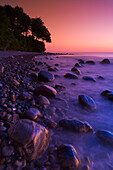 Kieler Bay at dusk, Jasmund National Park, Rugen Island, Mecklenburg Western Pommerania, Germany