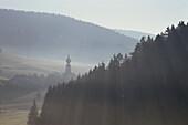 Foggy Morning Landscape near Urach, Black Forest, Baden-Wuerttemberg, germany