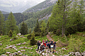 Hikers on Falzsteig hiking track, near the Watzmann Mountain, near Berchtesgaden, Berchtesgadener Land, Bavaria, Germany