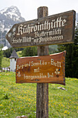 Signpost for the Kuehrointhuette Hut Sign, Near Watzmann Mountain, Berchtesgaden, Berchtesgadener Land, Bavaria, Germany