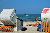 young couple, beach chairs, Timmendorf Beach, beach cairs, Baltic Sea, Germany