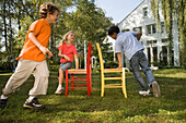 Children playing Musical Chairs, children's birthday party
